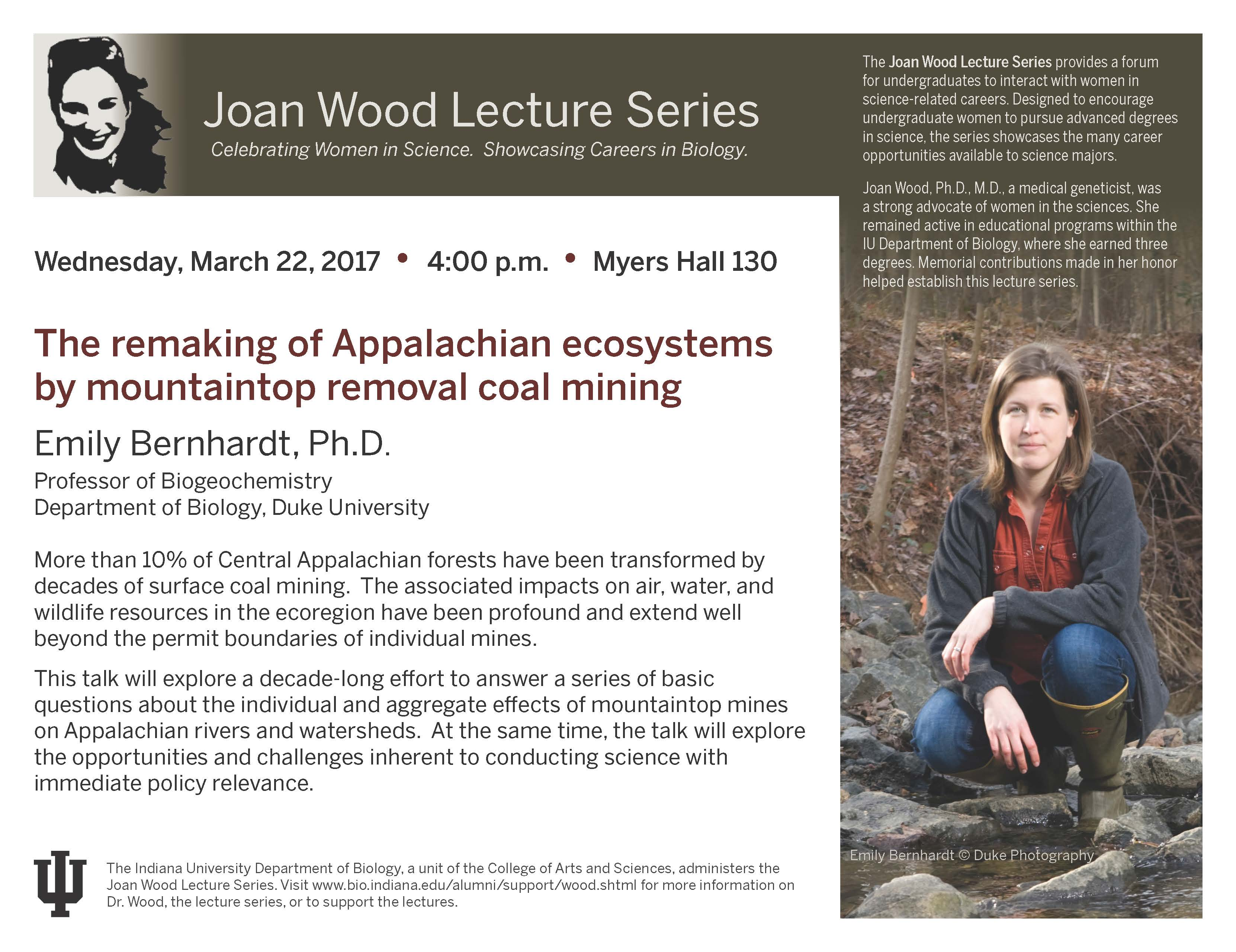 Joan Wood Lecture – March 22 in Myers Hall at 4PM – Indiana