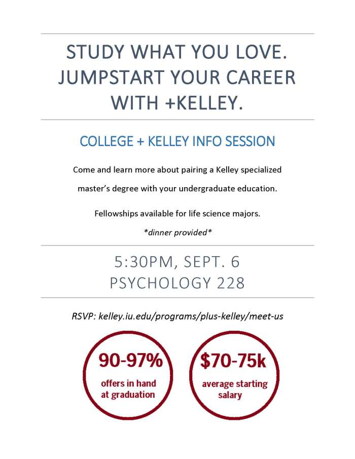 College + Kelley Sept 6 info session flyer