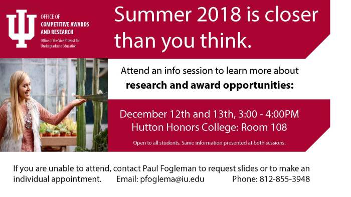 Info sessions about Summer 2018 Research and Award opportunities